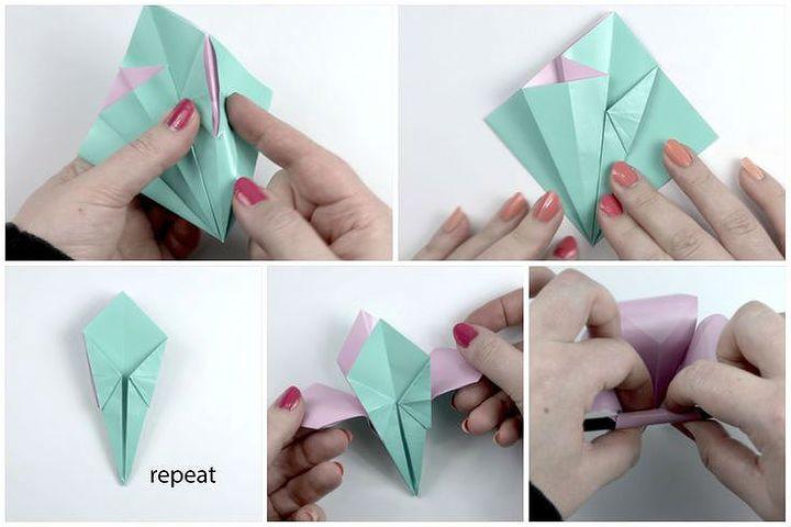 Схема сборки оригами Лилия