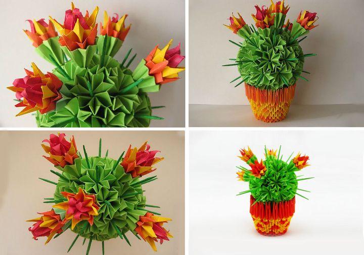 Модульное оригами кактус-шар