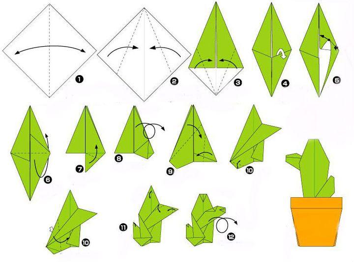Схема сборки оригами-кактуса в горшке