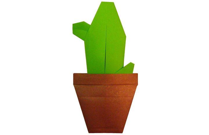 Оригами-кактус в горшке