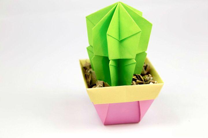 Трёхмерный кактус-оригами