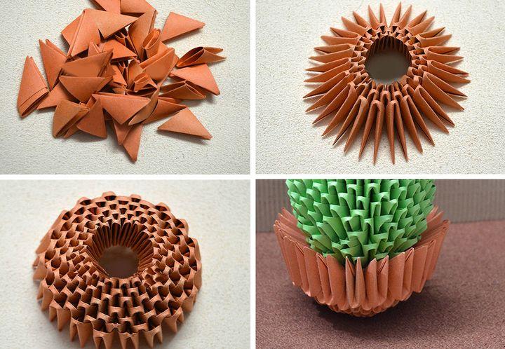 Схема сборки модульного оригами-кактус