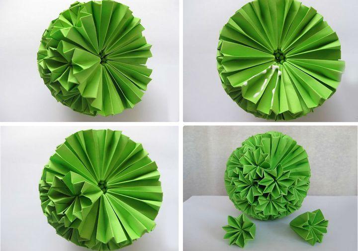 Схема сборки оригами Кактус