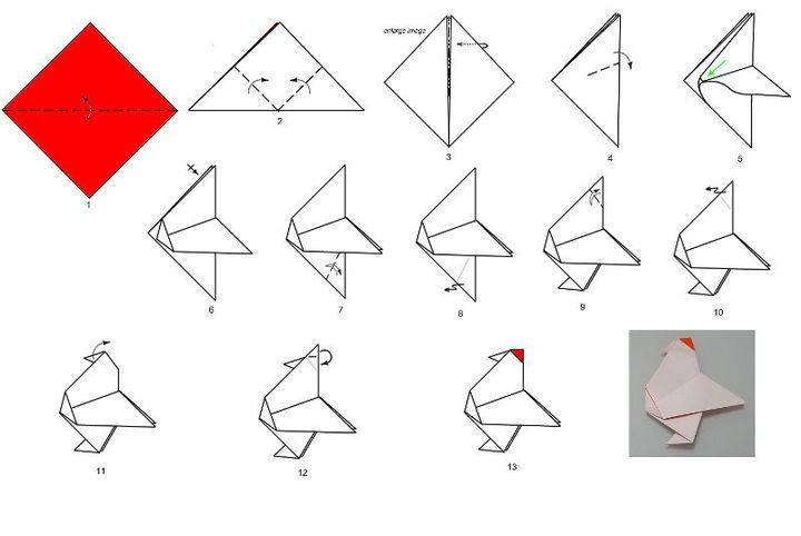 Пошаговая инструкция оригами курица
