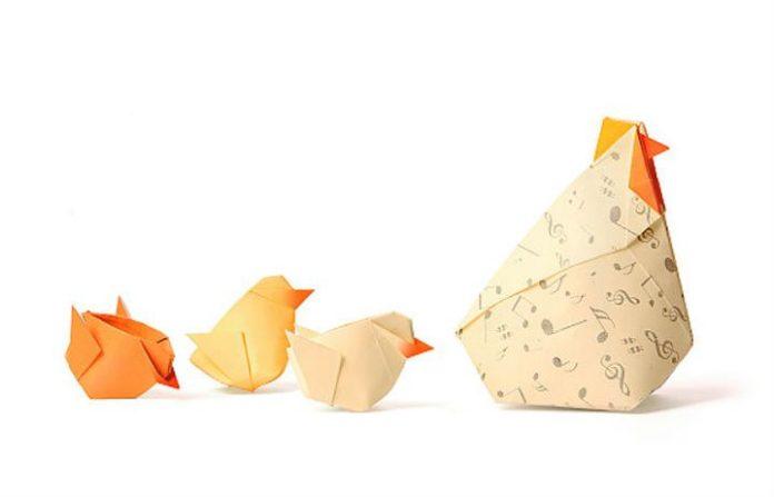 Оригами курица и цыплята