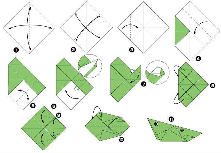 Процесс сборки оригами кузнечик