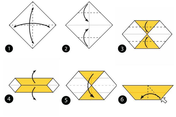 Процесс сборки оригами кошка