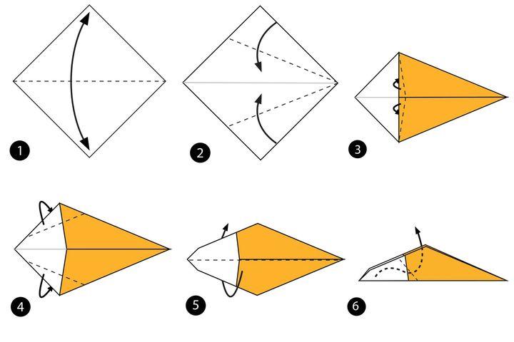 Процесс сборки оригами льва-хранителя