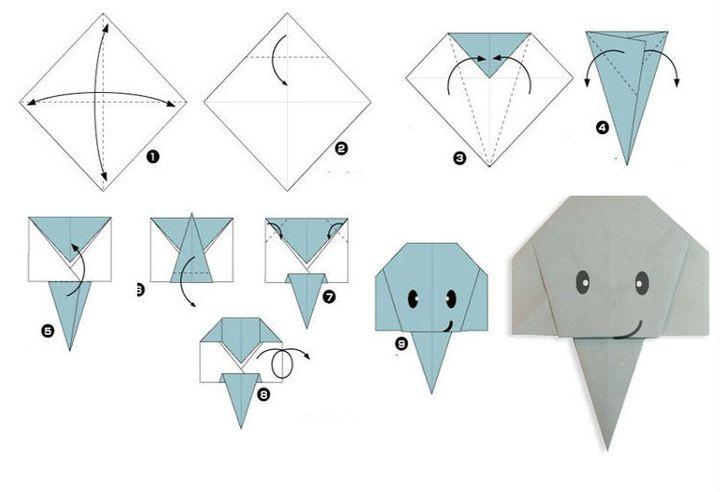 Процесс сборки оригами слон