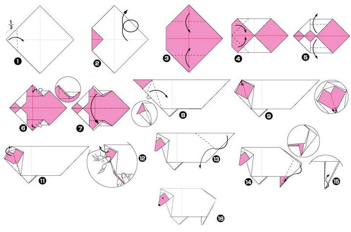 Процесс сборки оригами овечка