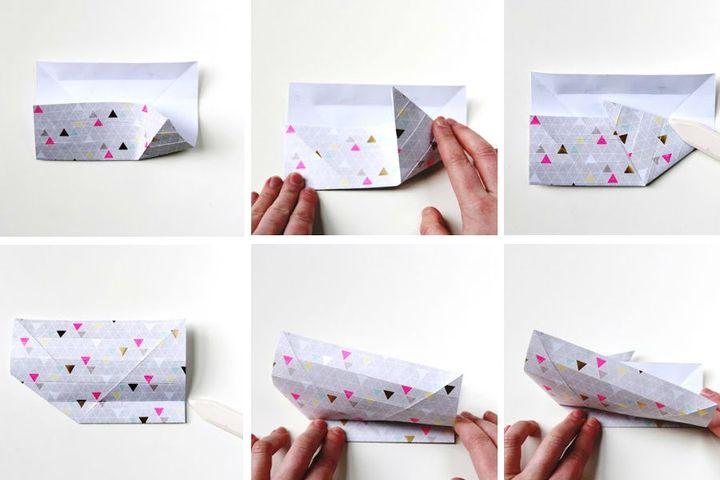 Поэтапная сборка оригами в виде корзинки-кролика