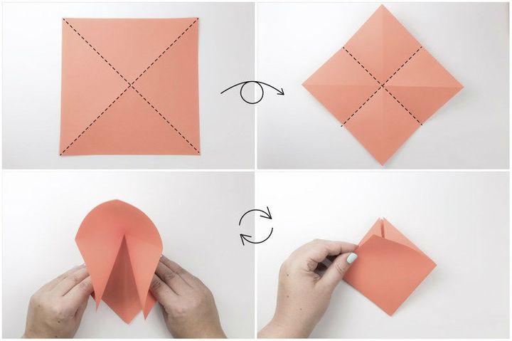 Поэтапная сборка оригами-корзинки