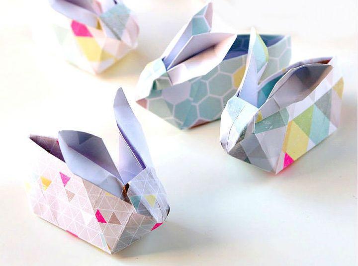 Оригами в виде корзинки-кролика