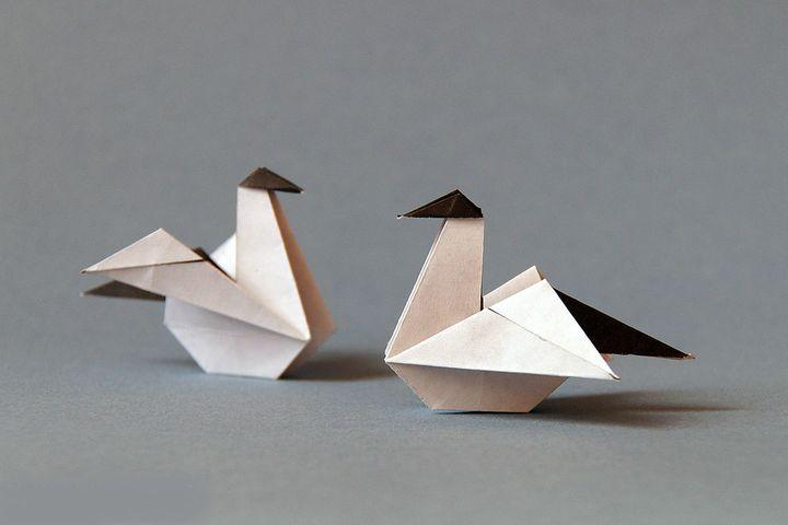 Чайка оригами из бумаги