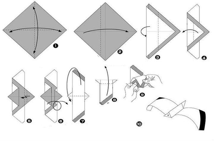 Поэтапная сборка чайки-подвески из бумаги