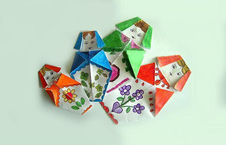 Матрёшка-оригами для открытки