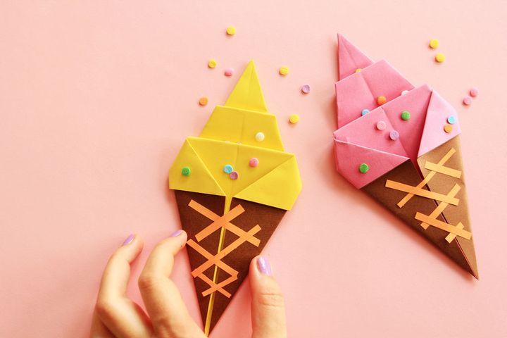 Модель оригами-мороженое на основе классического конуса