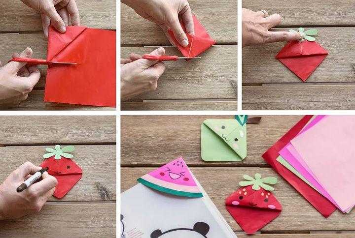 """Поэтапная сборка оригами-закладки """"Фрукты-ягоды"""""""