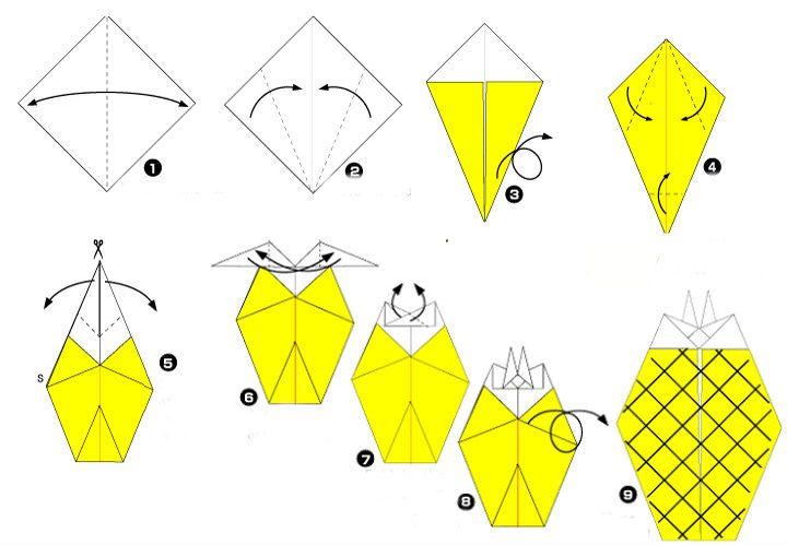Сборка оригами-ананаса