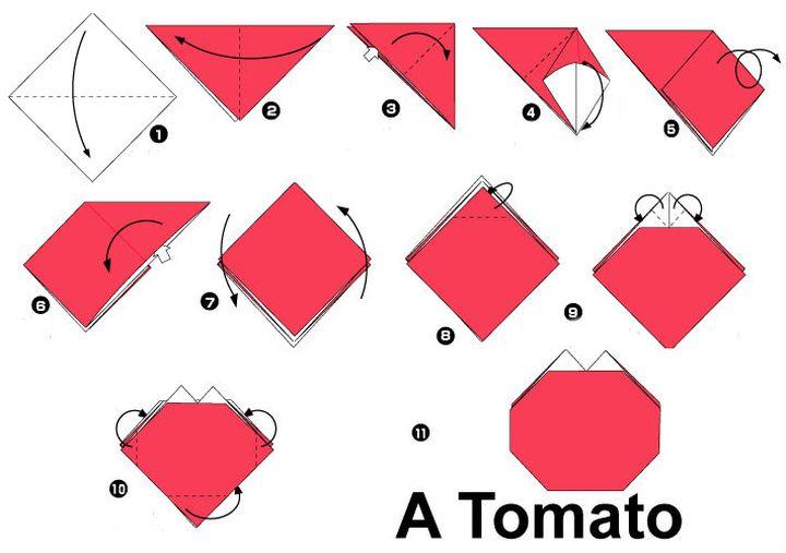 Сборка оригами-помидора