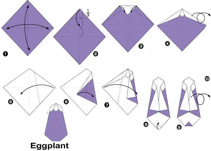 Сборка оригами-баклажана