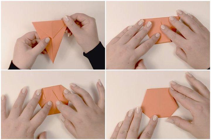 Поэтапная сборка оригами-тыквы