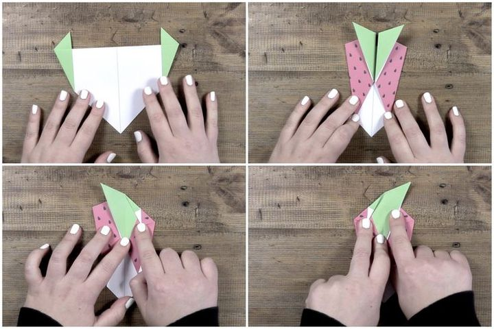 Поэтапная сборка оригами-клубники
