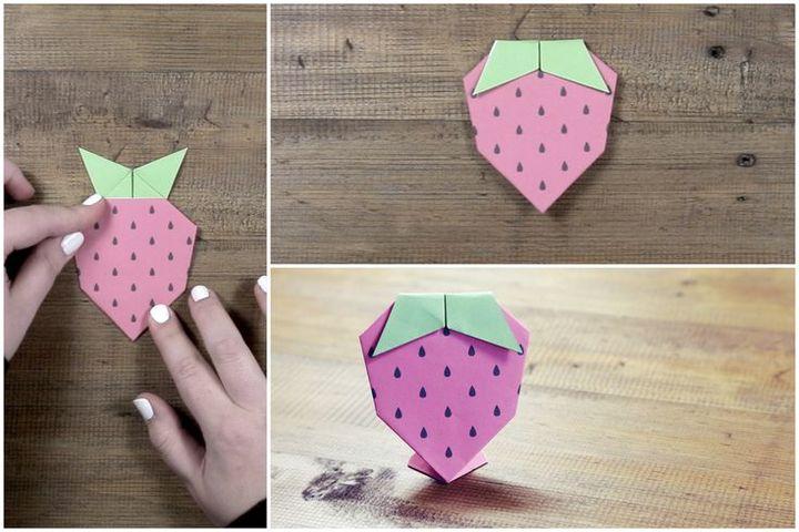 Оригами-клубника