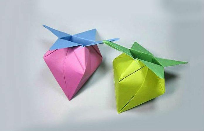 Оригами клубника-коробочка