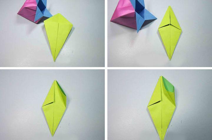 Поэтапная сборка оригами клубника-коробочка