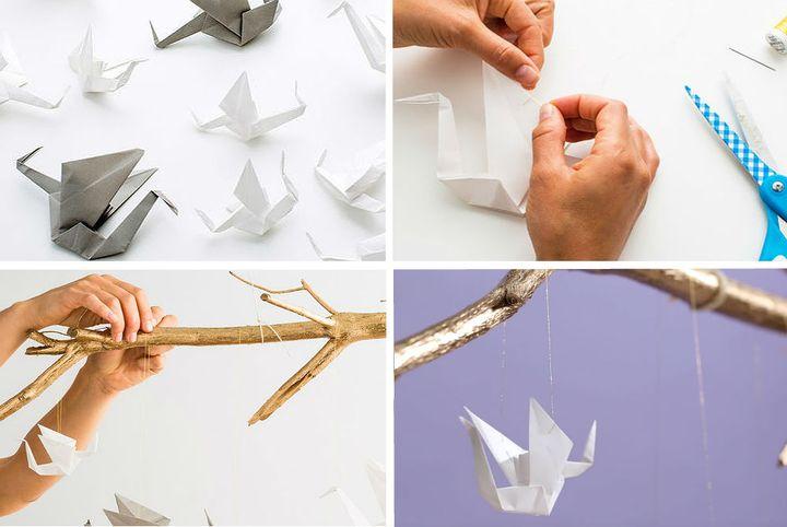 Поэтапная сборка подвески-ветки с аистами-оригами