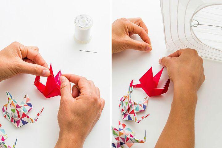 Поэтапная фонарика с аистами-оригами