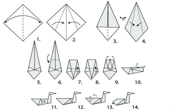 """Поэтапная сборка оригами """"Аист"""""""