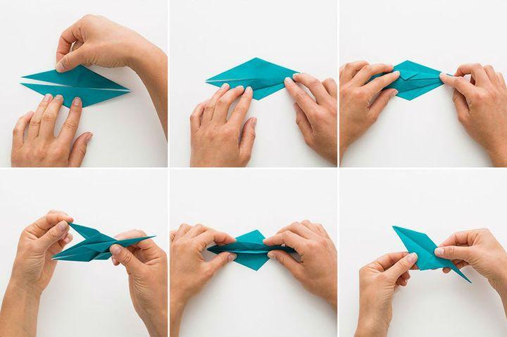 Поэтапная сборка детского мобиля в виде аистов-оригами
