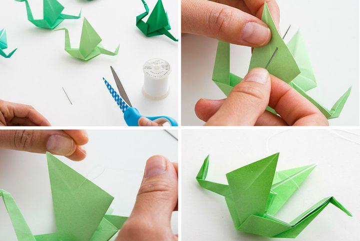 Поэтапная сборка аистов-оригами для мобиля