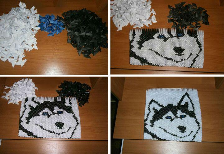 """Картина """"Хаски"""" из оригами-модулей"""