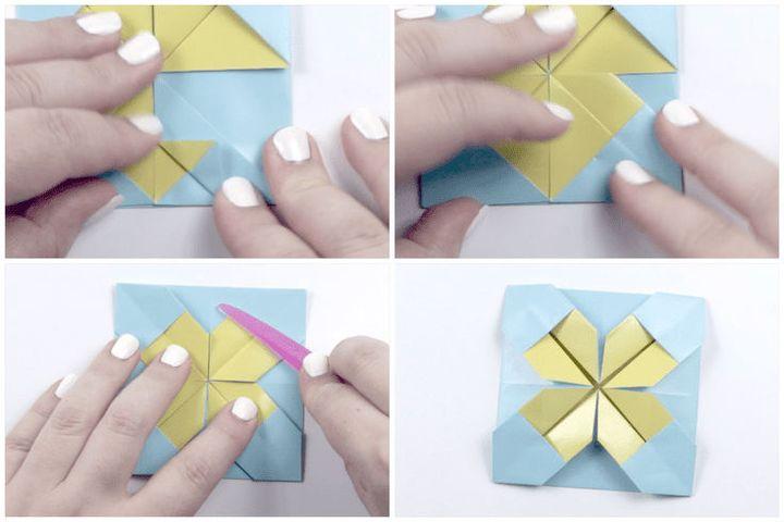 Панно в скандинавском духе - поэтапная сборка картины из оригами-модулей