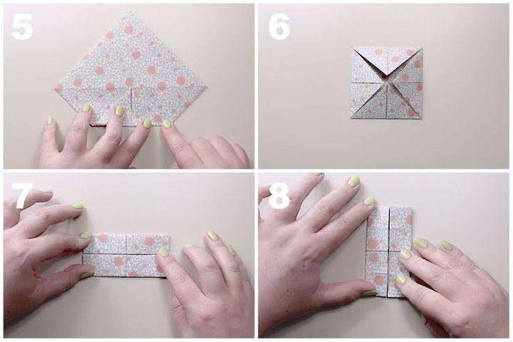 Поэтапная сборка коробочки-оригами с изысканной крышечкой