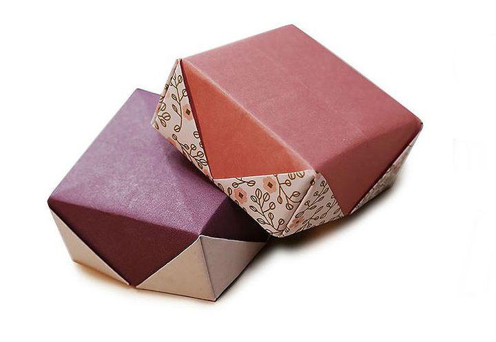 Коробочка-оригами с изысканной крышечкой