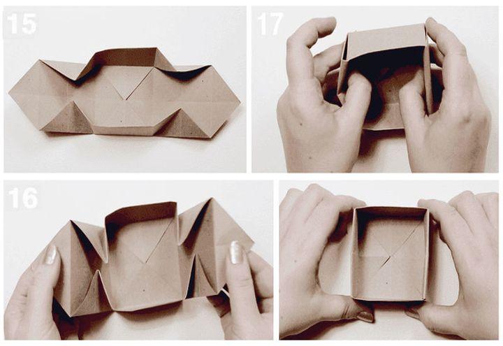 Поэтапная сборка классической модели коробочки с крышкой в технике оригами