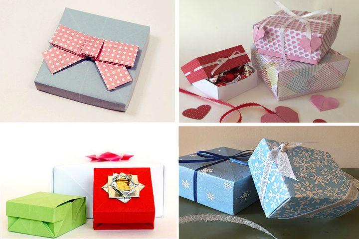 Коробочка с крышкой в технике оригами