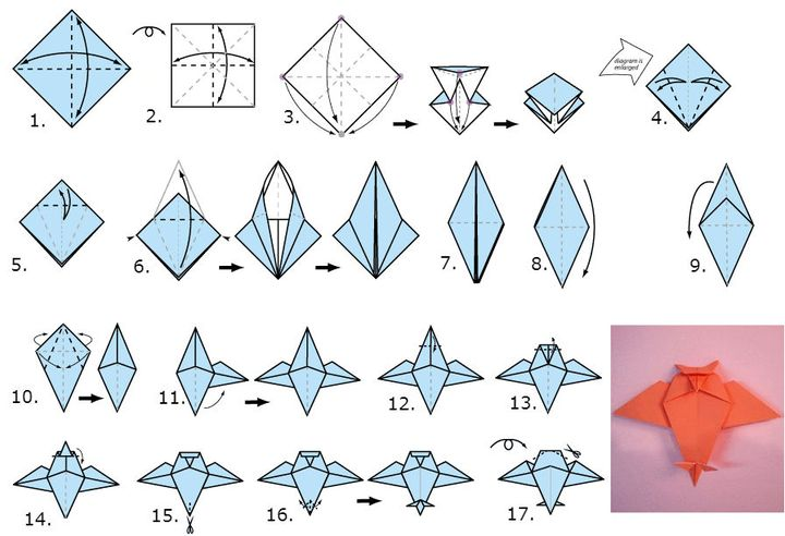 """Поэтапная сборка оригами """"Сова"""""""