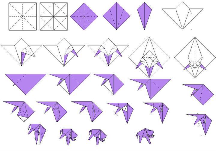 """Поэтапная сборка оригами """"Слонт"""""""