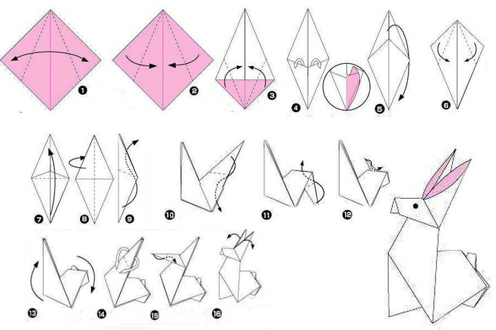 """Поэтапная сборка оригами """"Заяц"""""""