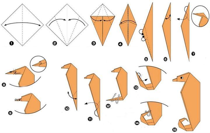 """Поэтапная сборка оригами """"Морской конек"""""""