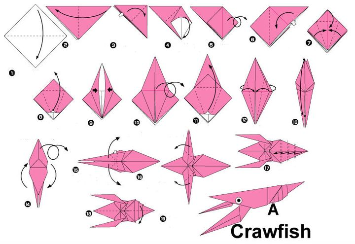 """Поэтапная сборка оригами """"Креветка"""""""