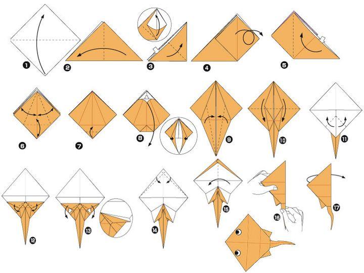 """Поэтапная сборка оригами """"Скат"""""""