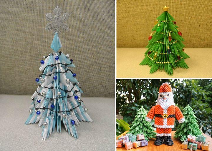 Пошаговая инструкция по сборке новогодней елки-оригами из модулей