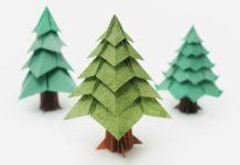 Пошаговая инструкция по сборке простой новогодней елки-оригами