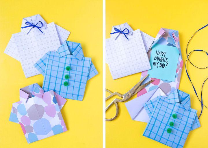 Оригами-открытка в виде рубашки